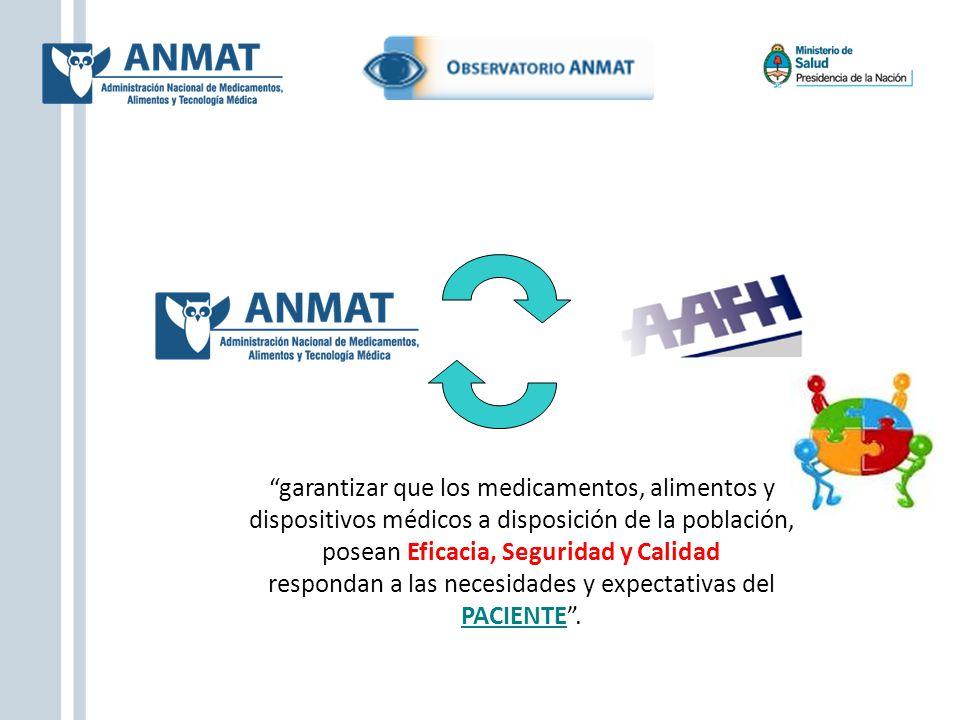 garantizar que los medicamentos, alimentos y dispositivos médicos a disposición de la población, posean Eficacia, Seguridad y Calidad respondan a las