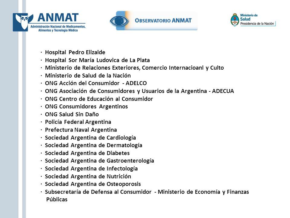· Hospital Pedro Elizalde · Hospital Sor María Ludovica de La Plata · Ministerio de Relaciones Exteriores, Comercio Internacioanl y Culto · Ministerio