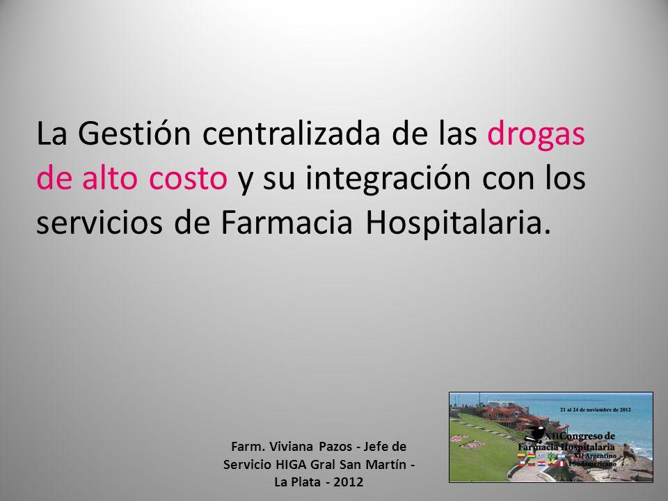La Gestión centralizada de las drogas de alto costo y su integración con los servicios de Farmacia Hospitalaria. Farm. Viviana Pazos - Jefe de Servici