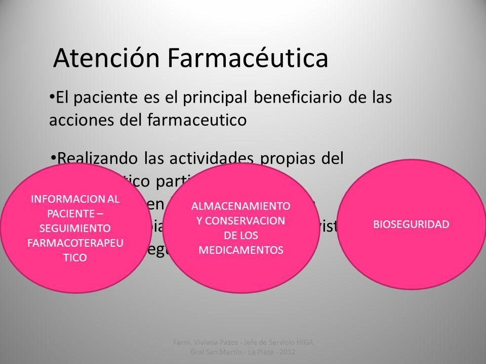 Atención Farmacéutica El paciente es el principal beneficiario de las acciones del farmaceutico Realizando las actividades propias del farmacéutico pa