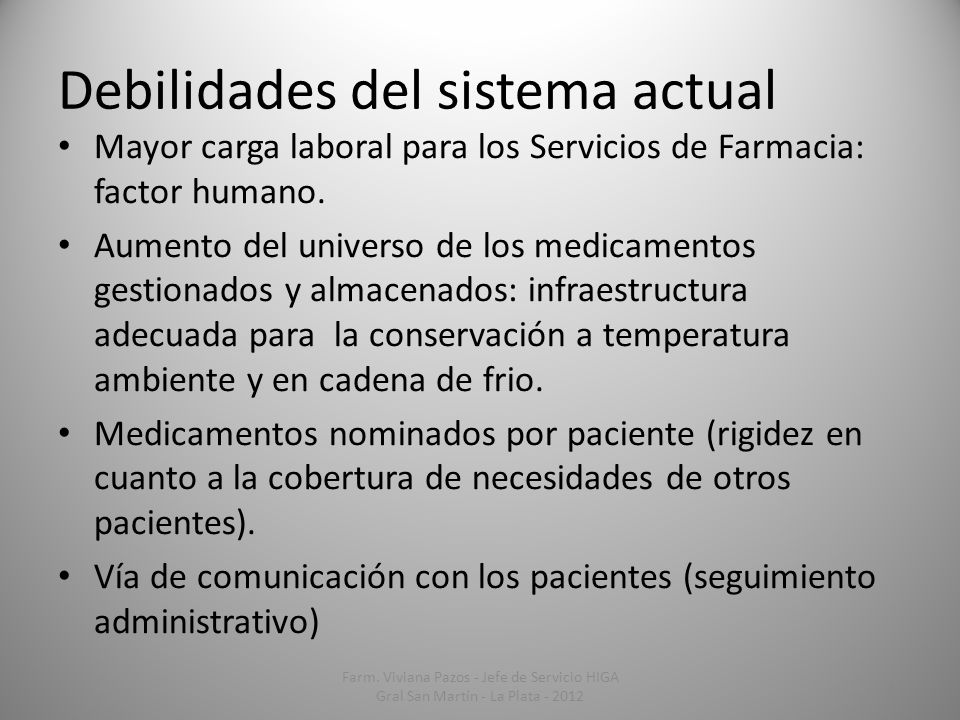 Debilidades del sistema actual Mayor carga laboral para los Servicios de Farmacia: factor humano. Aumento del universo de los medicamentos gestionados