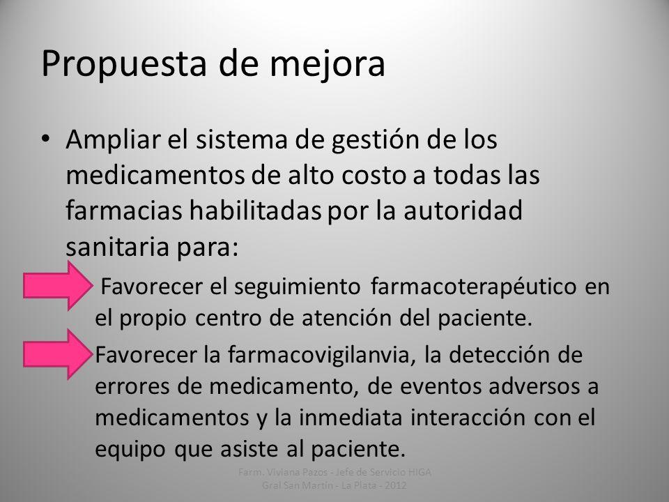 Propuesta de mejora Ampliar el sistema de gestión de los medicamentos de alto costo a todas las farmacias habilitadas por la autoridad sanitaria para:
