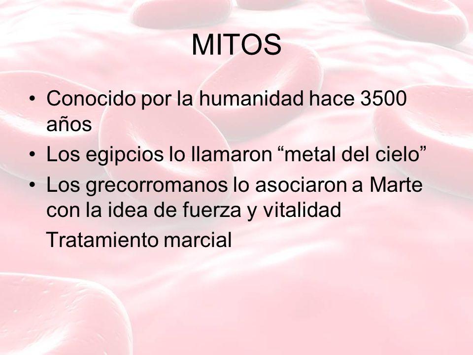 MITOS Conocido por la humanidad hace 3500 años Los egipcios lo llamaron metal del cielo Los grecorromanos lo asociaron a Marte con la idea de fuerza y vitalidad Tratamiento marcial
