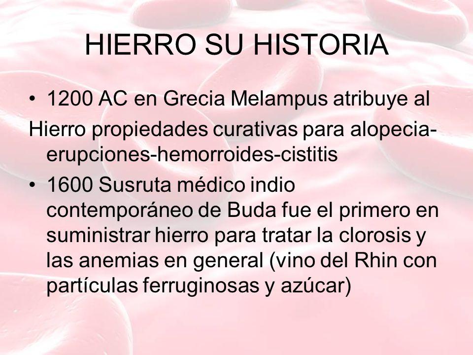 HIERRO SU HISTORIA 1200 AC en Grecia Melampus atribuye al Hierro propiedades curativas para alopecia- erupciones-hemorroides-cistitis 1600 Susruta méd