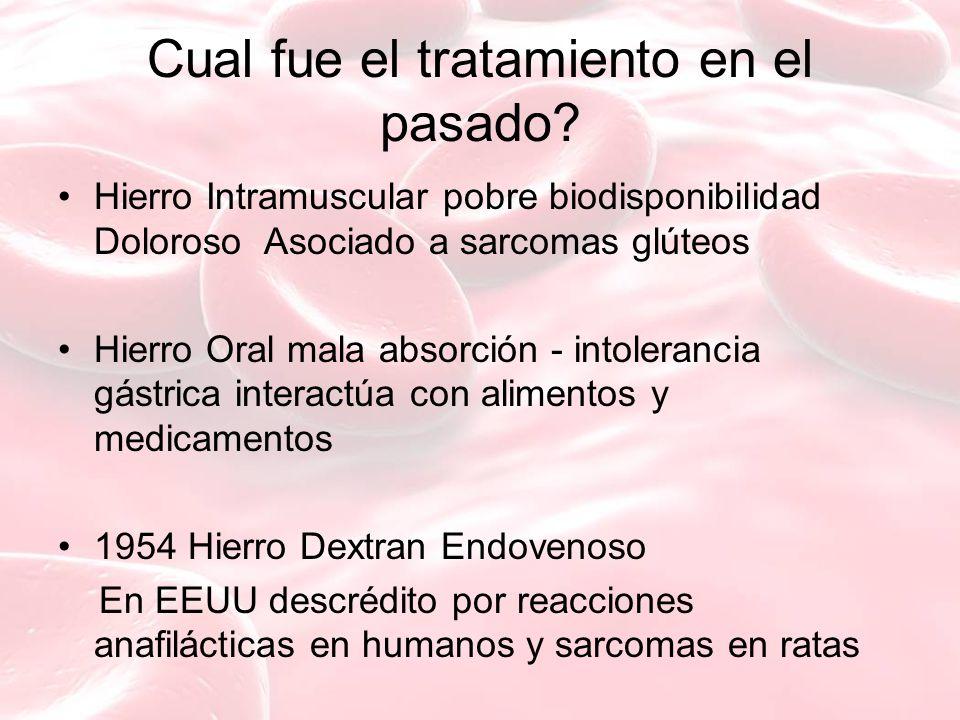 Cual fue el tratamiento en el pasado? Hierro Intramuscular pobre biodisponibilidad Doloroso Asociado a sarcomas glúteos Hierro Oral mala absorción - i