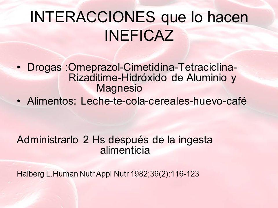 INTERACCIONES que lo hacen INEFICAZ Drogas :Omeprazol-Cimetidina-Tetraciclina- Rizaditime-Hidróxido de Aluminio y Magnesio Alimentos: Leche-te-cola-cereales-huevo-café Administrarlo 2 Hs después de la ingesta alimenticia Halberg L.Human Nutr Appl Nutr 1982;36(2):116-123