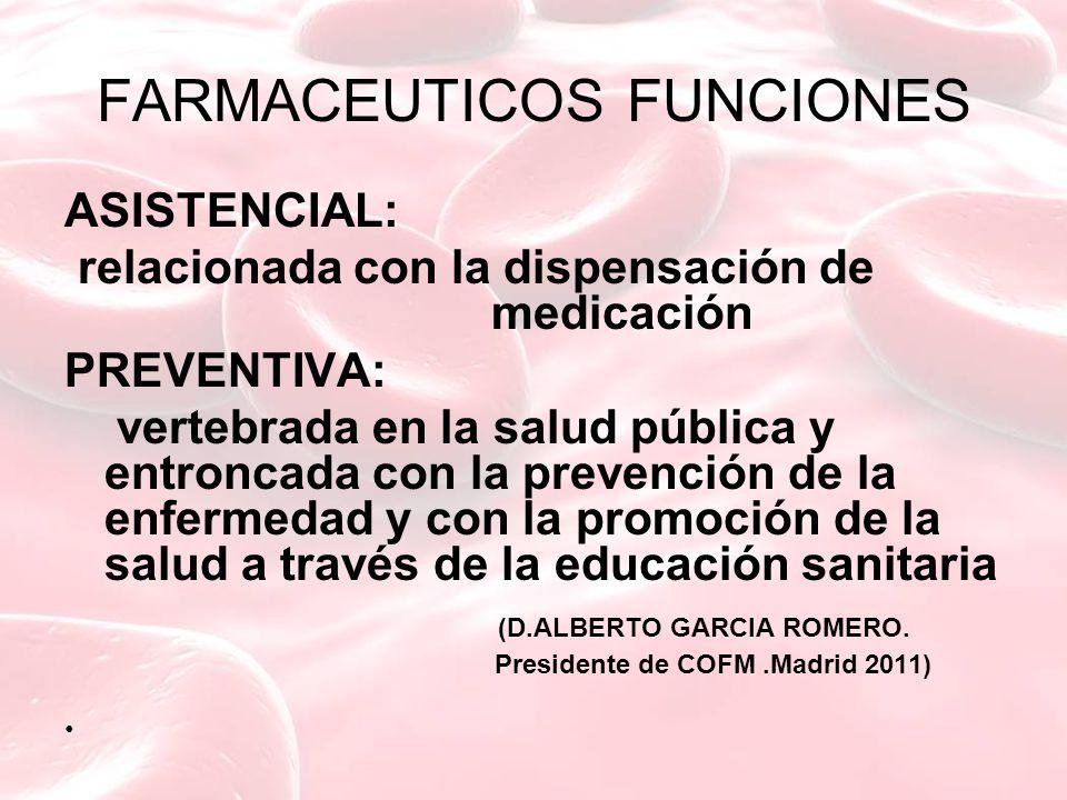 FARMACEUTICOS FUNCIONES ASISTENCIAL: relacionada con la dispensación de medicación PREVENTIVA: vertebrada en la salud pública y entroncada con la prevención de la enfermedad y con la promoción de la salud a través de la educación sanitaria (D.ALBERTO GARCIA ROMERO.
