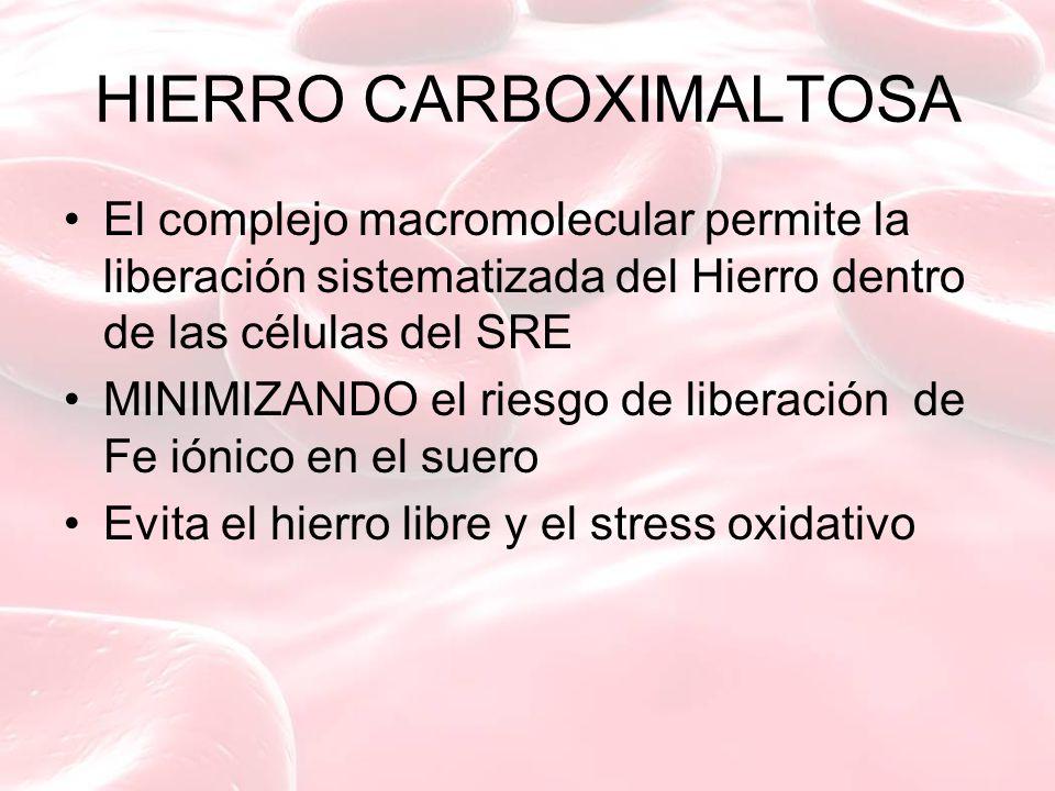 HIERRO CARBOXIMALTOSA El complejo macromolecular permite la liberación sistematizada del Hierro dentro de las células del SRE MINIMIZANDO el riesgo de liberación de Fe iónico en el suero Evita el hierro libre y el stress oxidativo
