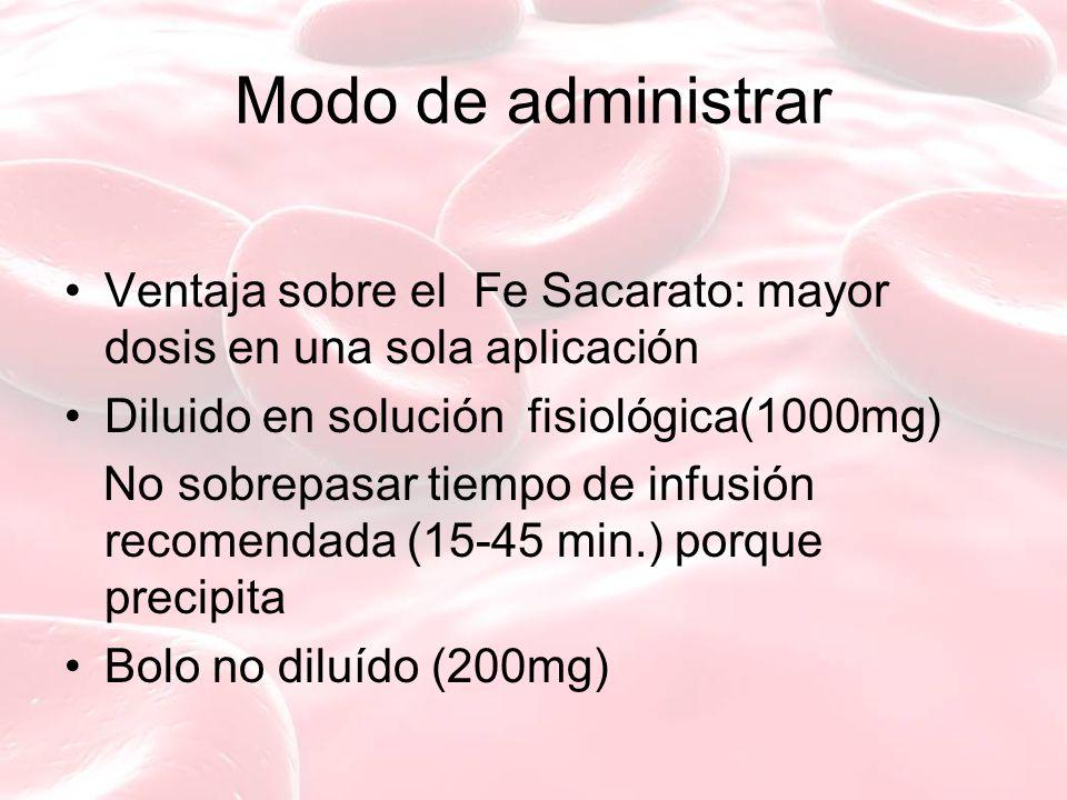 Modo de administrar Ventaja sobre el Fe Sacarato: mayor dosis en una sola aplicación Diluido en solución fisiológica(1000mg) No sobrepasar tiempo de infusión recomendada (15-45 min.) porque precipita Bolo no diluído (200mg)