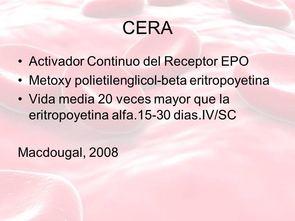 CERA Activador Continuo del Receptor EPO Metoxy polietilenglicol-beta eritropoyetina Vida media 20 veces mayor que la eritropoyetina alfa.15-30 dias.IV/SC Macdougal, 2008