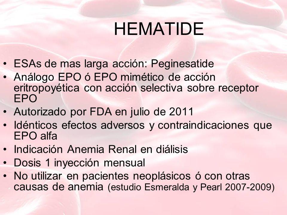 HEMATIDE ESAs de mas larga acción: Peginesatide Análogo EPO ó EPO mimético de acción eritropoyética con acción selectiva sobre receptor EPO Autorizado por FDA en julio de 2011 Idénticos efectos adversos y contraindicaciones que EPO alfa Indicación Anemia Renal en diálisis Dosis 1 inyección mensual No utilizar en pacientes neoplásicos ó con otras causas de anemia (estudio Esmeralda y Pearl 2007-2009)