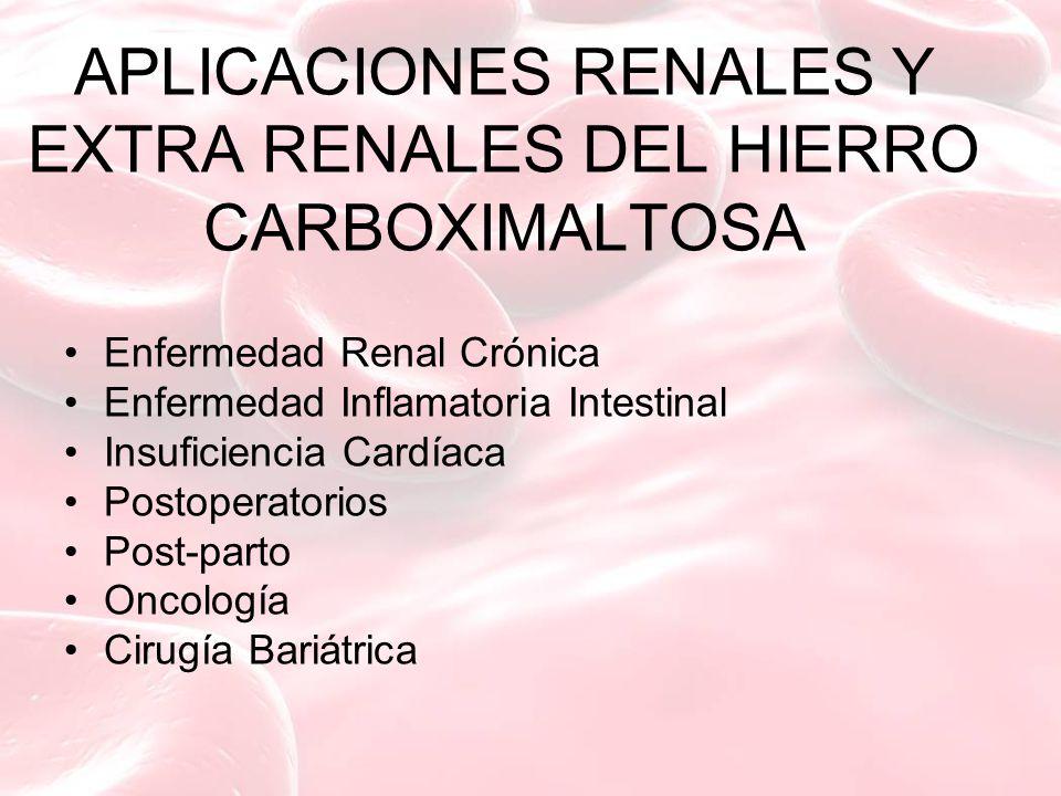 APLICACIONES RENALES Y EXTRA RENALES DEL HIERRO CARBOXIMALTOSA Enfermedad Renal Crónica Enfermedad Inflamatoria Intestinal Insuficiencia Cardíaca Postoperatorios Post-parto Oncología Cirugía Bariátrica