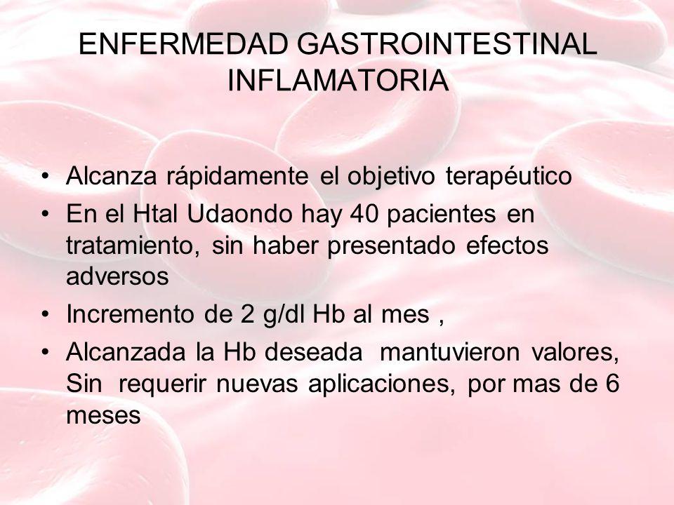 ENFERMEDAD GASTROINTESTINAL INFLAMATORIA Alcanza rápidamente el objetivo terapéutico En el Htal Udaondo hay 40 pacientes en tratamiento, sin haber pre
