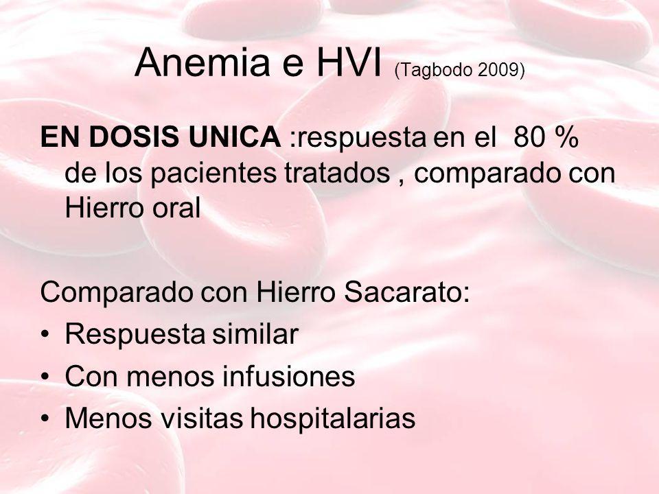 Anemia e HVI (Tagbodo 2009) EN DOSIS UNICA :respuesta en el 80 % de los pacientes tratados, comparado con Hierro oral Comparado con Hierro Sacarato: R