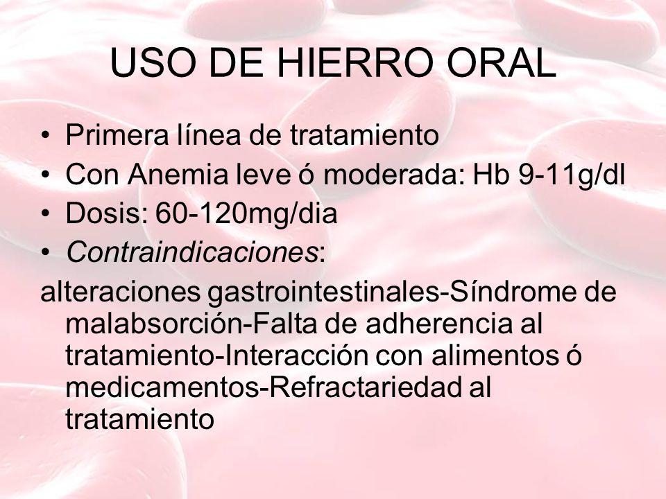 USO DE HIERRO ORAL Primera línea de tratamiento Con Anemia leve ó moderada: Hb 9-11g/dl Dosis: 60-120mg/dia Contraindicaciones: alteraciones gastroint
