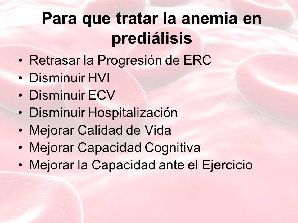 Para que tratar la anemia en prediálisis Retrasar la Progresión de ERC Disminuir HVI Disminuir ECV Disminuir Hospitalización Mejorar Calidad de Vida Mejorar Capacidad Cognitiva Mejorar la Capacidad ante el Ejercicio