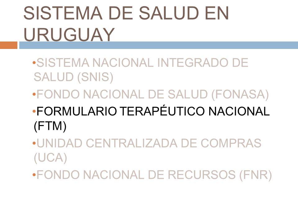 SISTEMA DE SALUD EN URUGUAY SISTEMA NACIONAL INTEGRADO DE SALUD (SNIS) FONDO NACIONAL DE SALUD (FONASA) FORMULARIO TERAPÉUTICO NACIONAL (FTM) UNIDAD C