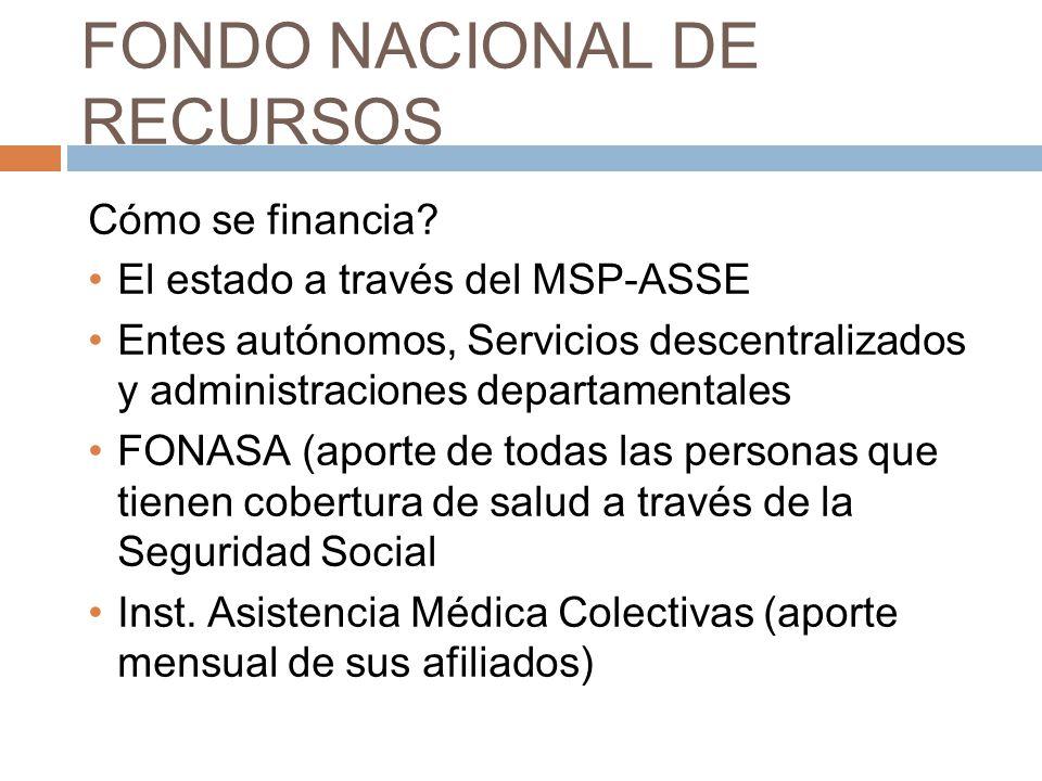 FONDO NACIONAL DE RECURSOS Cómo se financia? El estado a través del MSP-ASSE Entes autónomos, Servicios descentralizados y administraciones departamen