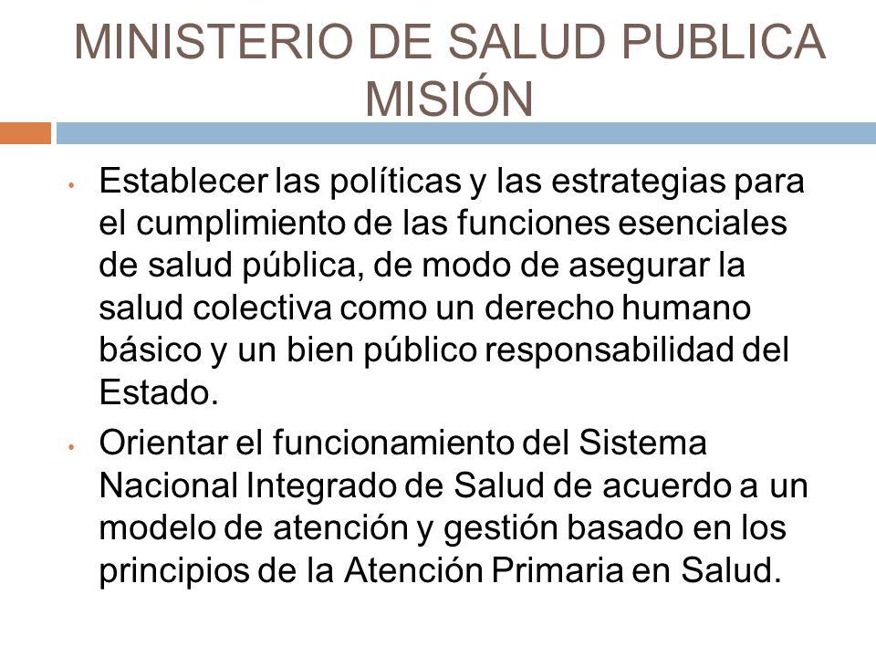 MINISTERIO DE SALUD PUBLICA MISIÓN Establecer las políticas y las estrategias para el cumplimiento de las funciones esenciales de salud pública, de modo de asegurar la salud colectiva como un derecho humano básico y un bien público responsabilidad del Estado.