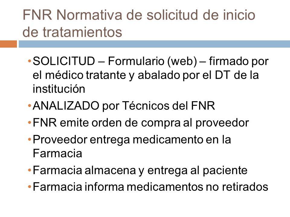 FNR Normativa de solicitud de inicio de tratamientos SOLICITUD – Formulario (web) – firmado por el médico tratante y abalado por el DT de la instituci