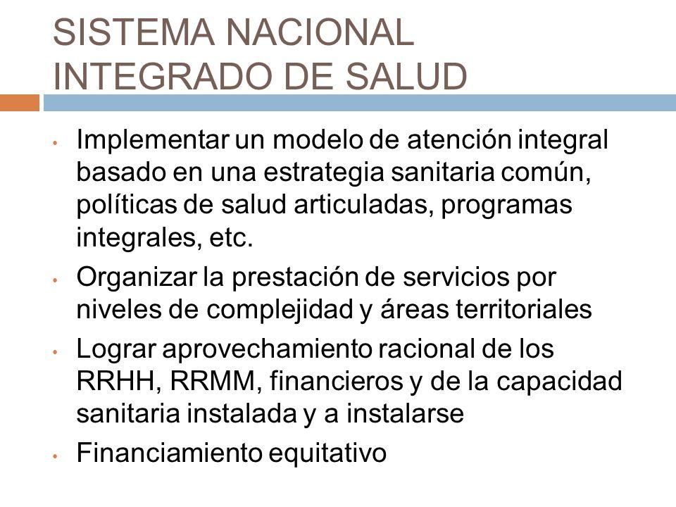 SISTEMA NACIONAL INTEGRADO DE SALUD Implementar un modelo de atención integral basado en una estrategia sanitaria común, políticas de salud articuladas, programas integrales, etc.