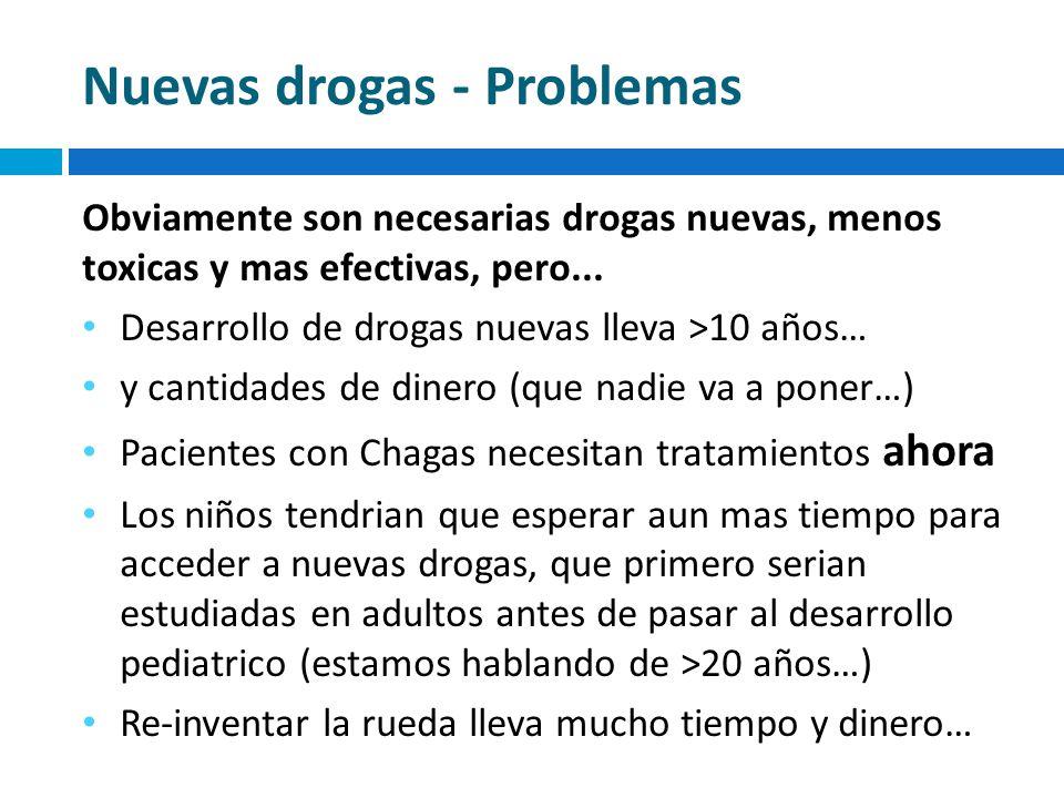 Nuevas drogas - Problemas Obviamente son necesarias drogas nuevas, menos toxicas y mas efectivas, pero... Desarrollo de drogas nuevas lleva >10 años…