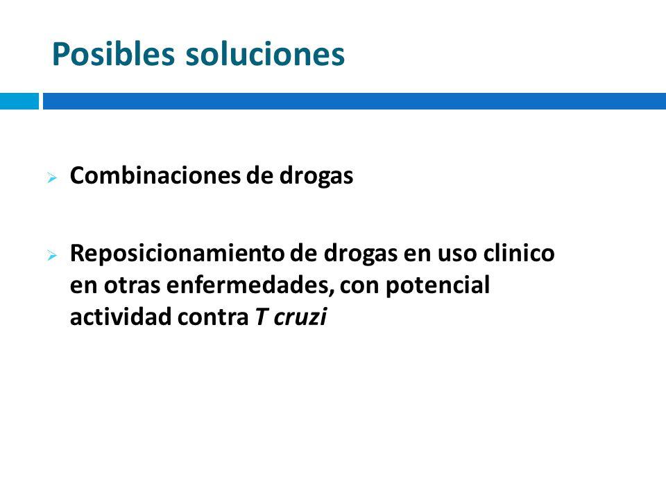 Posibles soluciones Combinaciones de drogas Reposicionamiento de drogas en uso clinico en otras enfermedades, con potencial actividad contra T cruzi