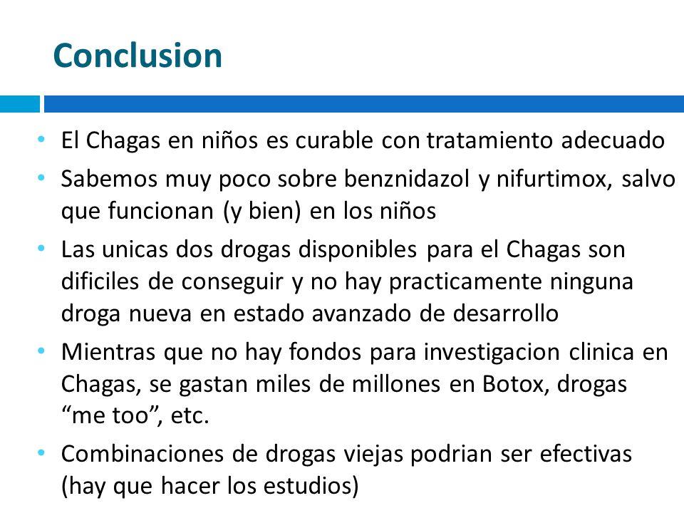 Conclusion El Chagas en niños es curable con tratamiento adecuado Sabemos muy poco sobre benznidazol y nifurtimox, salvo que funcionan (y bien) en los