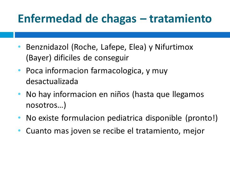 Enfermedad de chagas – tratamiento Benznidazol (Roche, Lafepe, Elea) y Nifurtimox (Bayer) dificiles de conseguir Poca informacion farmacologica, y muy