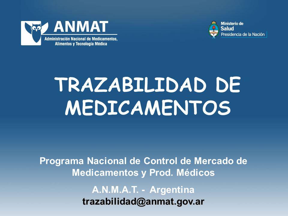 TRAZABILIDAD DE MEDICAMENTOS Programa Nacional de Control de Mercado de Medicamentos y Prod. Médicos trazabilidad@anmat.gov.ar A.N.M.A.T. - Argentina