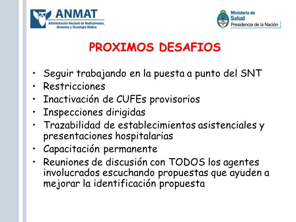 PROXIMOS DESAFIOS Seguir trabajando en la puesta a punto del SNT Restricciones Inactivación de CUFEs provisorios Inspecciones dirigidas Trazabilidad d