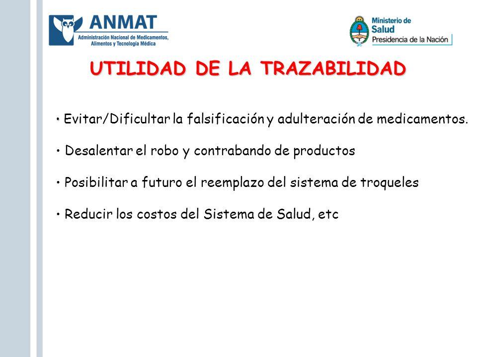 UTILIDAD DE LA TRAZABILIDAD Evitar/Dificultar la falsificación y adulteración de medicamentos. Desalentar el robo y contrabando de productos Posibilit