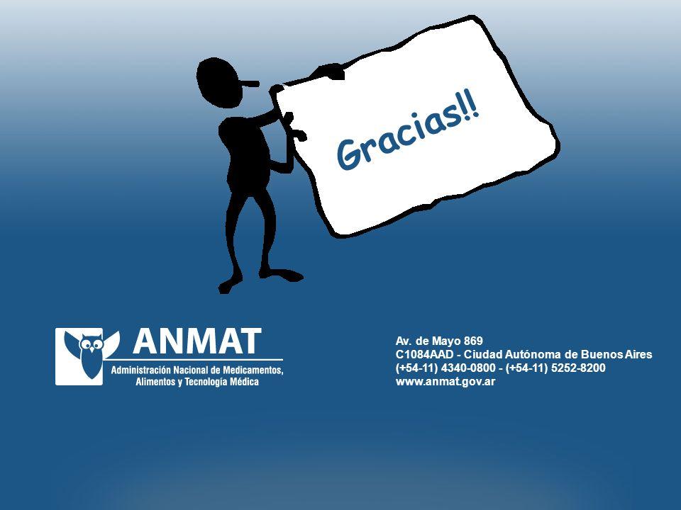 Av. de Mayo 869 C1084AAD - Ciudad Autónoma de Buenos Aires (+54-11) 4340-0800 - (+54-11) 5252-8200 www.anmat.gov.ar Gracias!!
