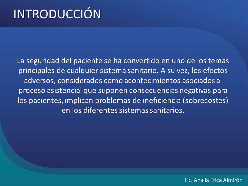 INTRODUCCIÓN La seguridad del paciente se ha convertido en uno de los temas principales de cualquier sistema sanitario.