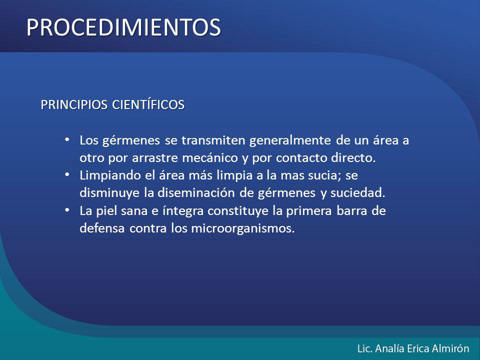 PROCEDIMIENTOS PRINCIPIOS CIENTÍFICOS Los gérmenes se transmiten generalmente de un área a otro por arrastre mecánico y por contacto directo.