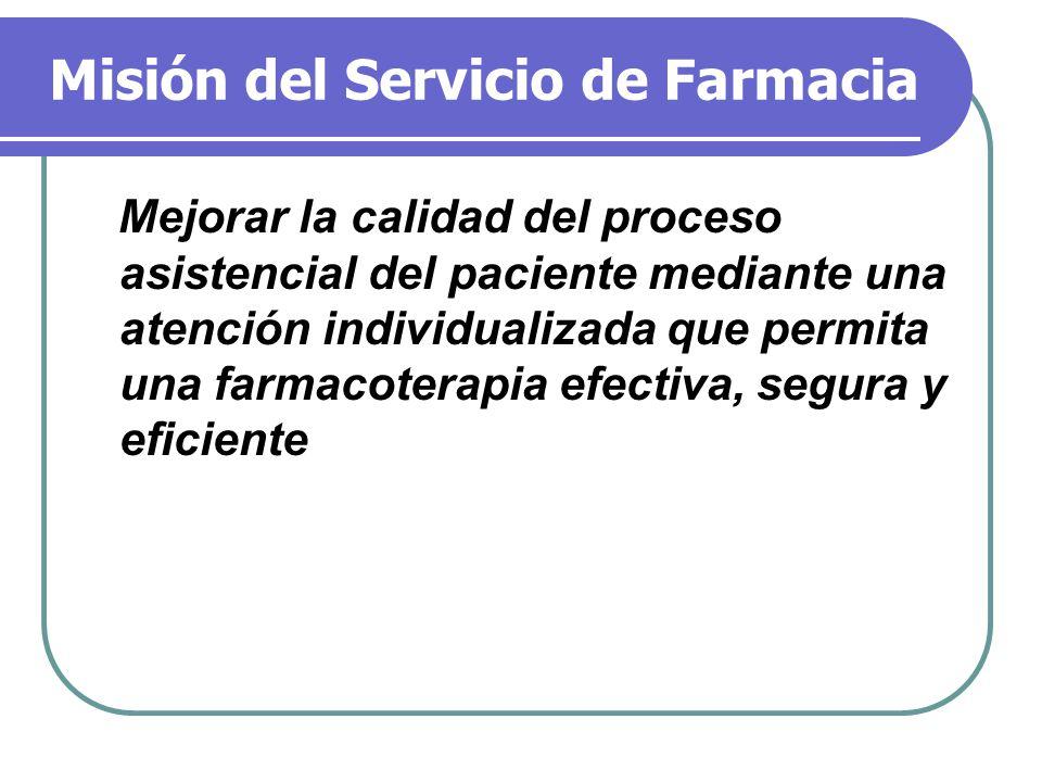 Misión del Servicio de Farmacia Mejorar la calidad del proceso asistencial del paciente mediante una atención individualizada que permita una farmacot