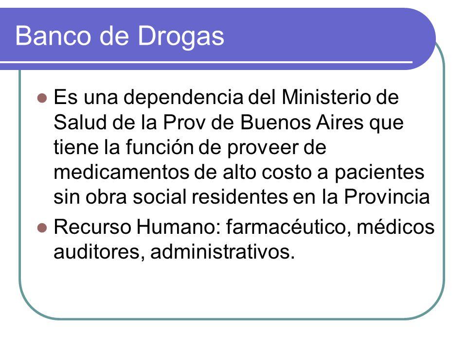 Banco de Drogas Es una dependencia del Ministerio de Salud de la Prov de Buenos Aires que tiene la función de proveer de medicamentos de alto costo a
