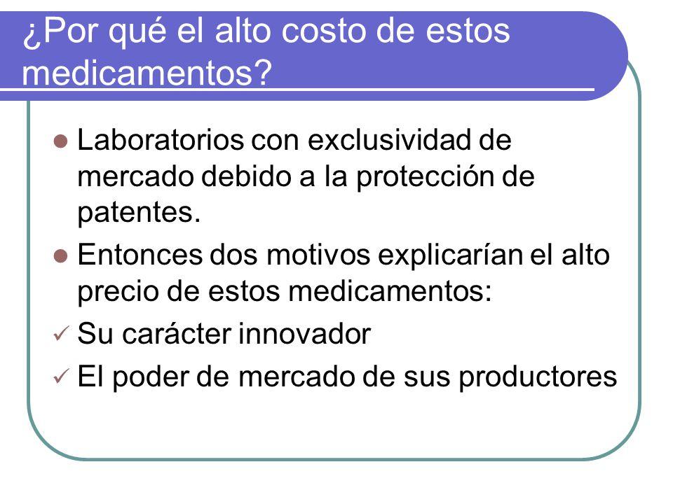 ¿Por qué el alto costo de estos medicamentos? Laboratorios con exclusividad de mercado debido a la protección de patentes. Entonces dos motivos explic