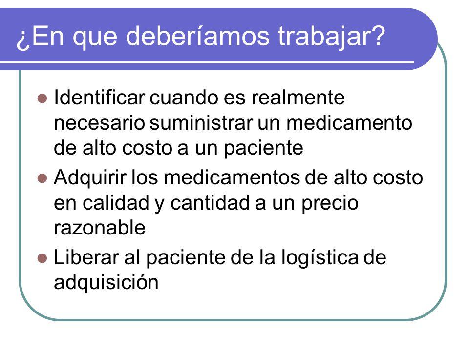 ¿En que deberíamos trabajar? Identificar cuando es realmente necesario suministrar un medicamento de alto costo a un paciente Adquirir los medicamento