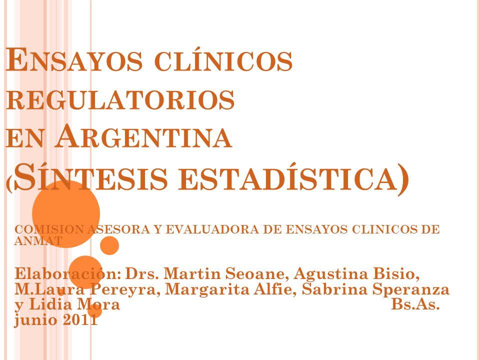 E NSAYOS CLÍNICOS REGULATORIOS EN A RGENTINA ( S ÍNTESIS ESTADÍSTICA ) COMISION ASESORA Y EVALUADORA DE ENSAYOS CLINICOS DE ANMAT Elaboración: Drs.