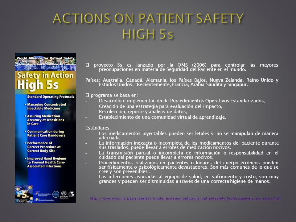 El proyecto 5s es lanzado por la OMS (2006) para controlar las mayores preocupaciones en materia de Seguridad del Paciente en el mundo. Países: Austra