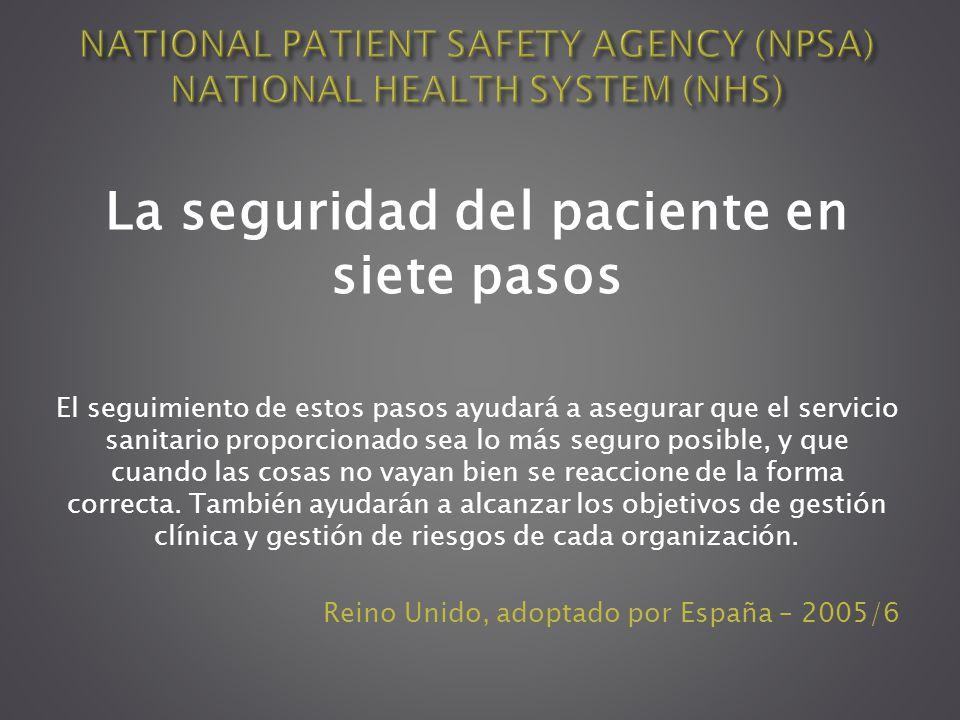 La seguridad del paciente en siete pasos El seguimiento de estos pasos ayudará a asegurar que el servicio sanitario proporcionado sea lo más seguro po