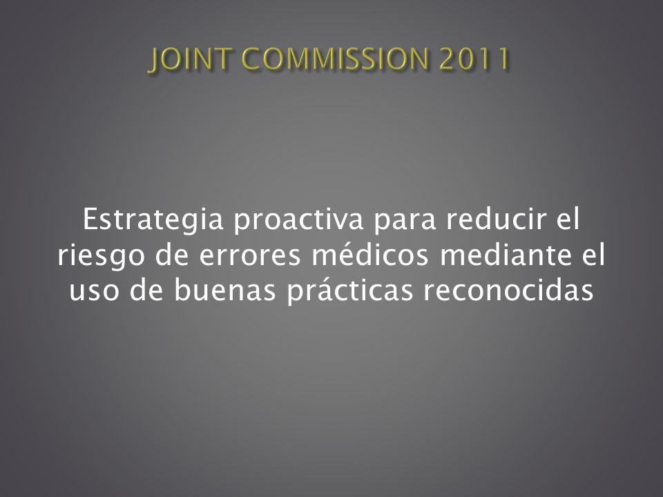 Estrategia proactiva para reducir el riesgo de errores médicos mediante el uso de buenas prácticas reconocidas