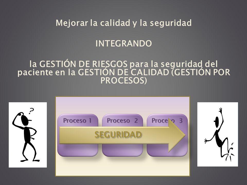 Mejorar la calidad y la seguridad INTEGRANDO la GESTIÓN DE RIESGOS para la seguridad del paciente en la GESTIÓN DE CALIDAD (GESTIÓN POR PROCESOS) Proc