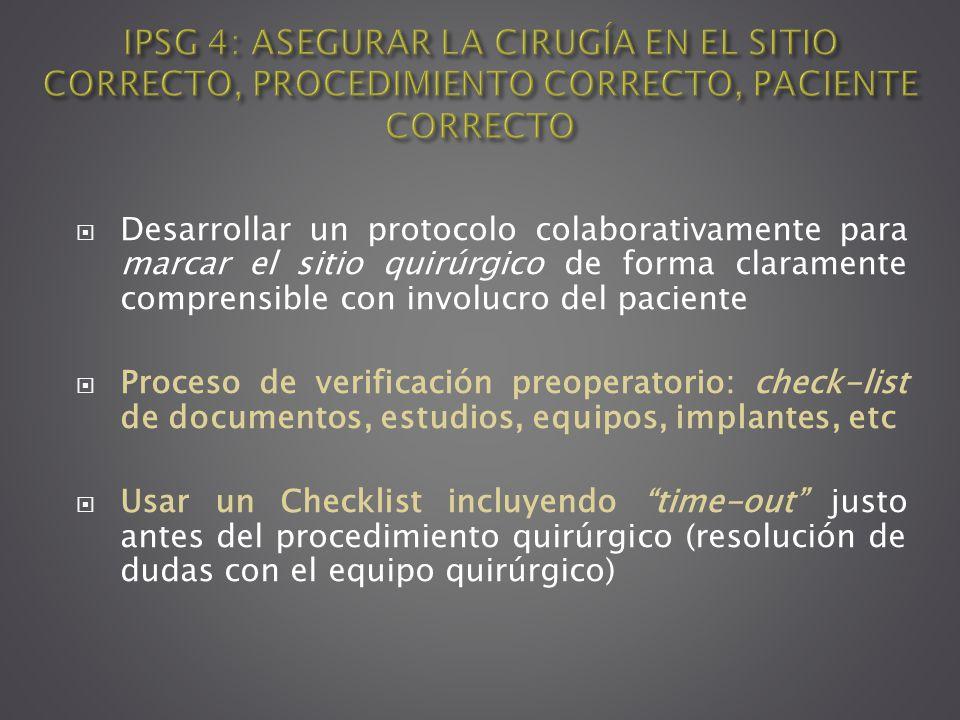 Desarrollar un protocolo colaborativamente para marcar el sitio quirúrgico de forma claramente comprensible con involucro del paciente Proceso de veri