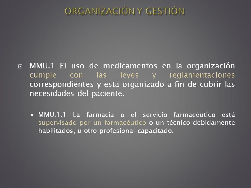 MMU.1 El uso de medicamentos en la organización cumple con las leyes y reglamentaciones correspondientes y está organizado a fin de cubrir las necesid