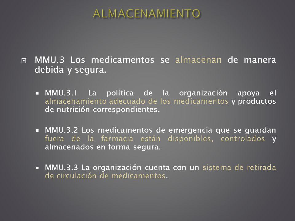 MMU.3 Los medicamentos se almacenan de manera debida y segura. MMU.3.1 La política de la organización apoya el almacenamiento adecuado de los medicame