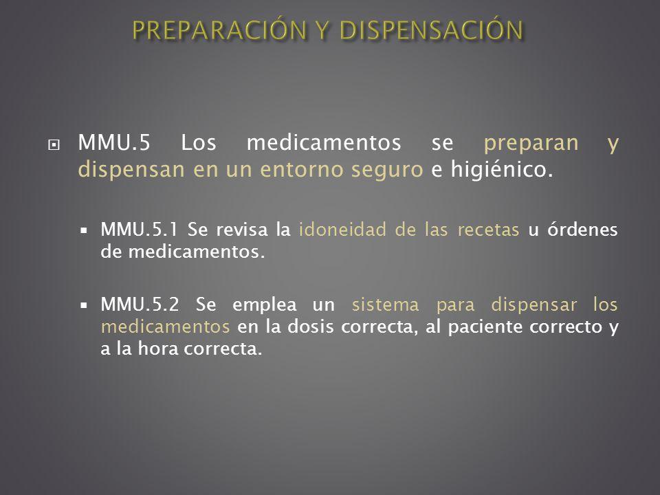 MMU.5 Los medicamentos se preparan y dispensan en un entorno seguro e higiénico. MMU.5.1 Se revisa la idoneidad de las recetas u órdenes de medicament