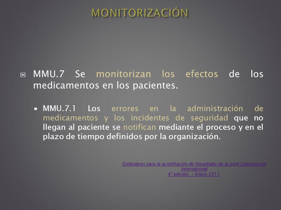 MMU.7 Se monitorizan los efectos de los medicamentos en los pacientes. MMU.7.1 Los errores en la administración de medicamentos y los incidentes de se