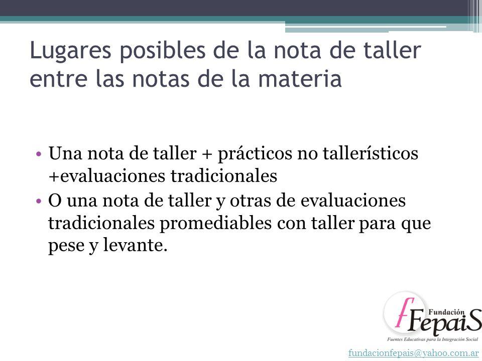 Lugares posibles de la nota de taller entre las notas de la materia Una nota de taller + prácticos no tallerísticos +evaluaciones tradicionales O una